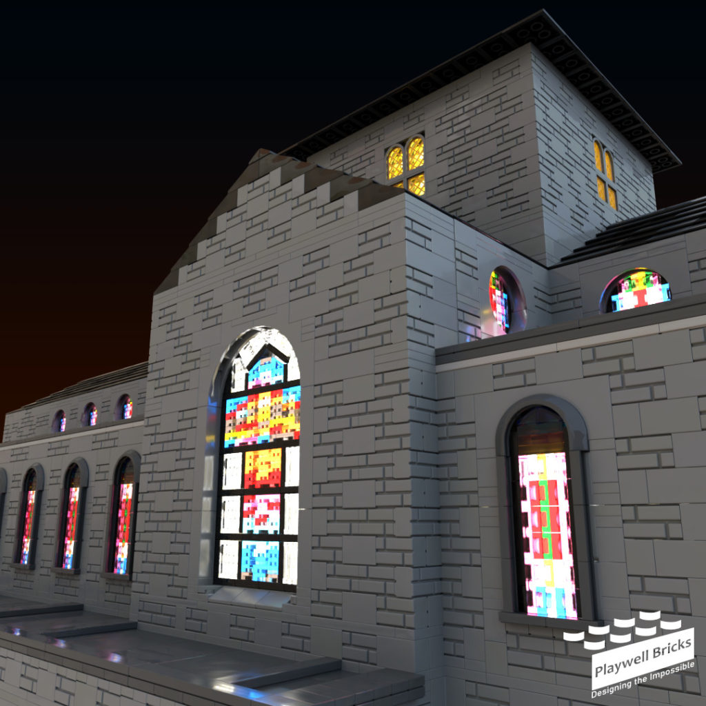 Stained Glass Windows at Night